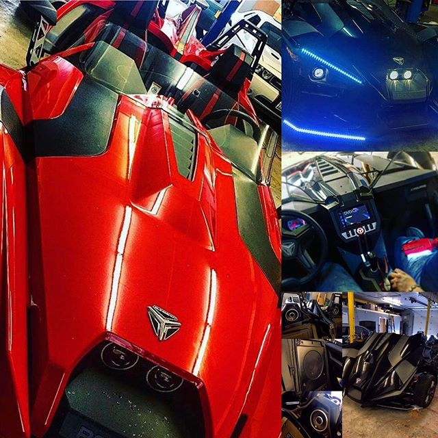 Let us customize your toy! Anything from audio, lighting, or wheels. For more information or pricing call us at 708.474.6625  #motorsports #aftermarket #slingshot #polaris #polarisslingshot #summertime #forzacustoms