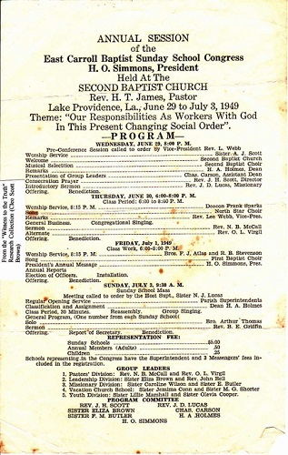 1949 Sunday School Congress Program