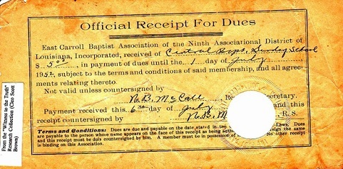 1952 Baptist Association Dues Receipt