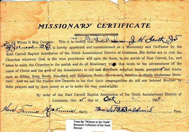 1929 Missionary Certificate