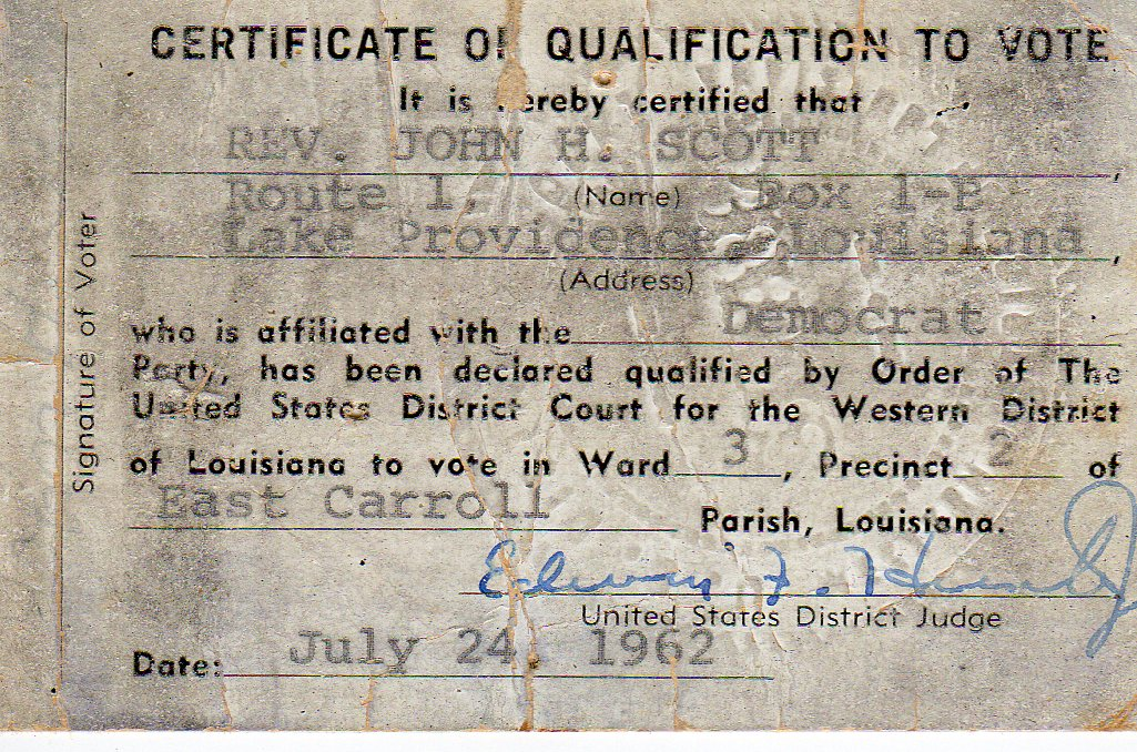 One of the few voter registration cards ever issued in Federal Court