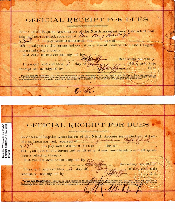 1927 and 1928 Association Dues Receipts