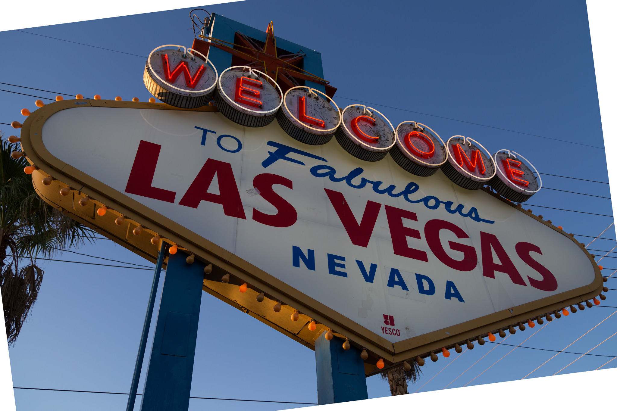First up is the iconic Las Vegas sign.  As you can see in the before photo there are a number of power lines that run directly behind the sign. Additionally, if you look closely the sign is very dirty and looks to have been patch several times.