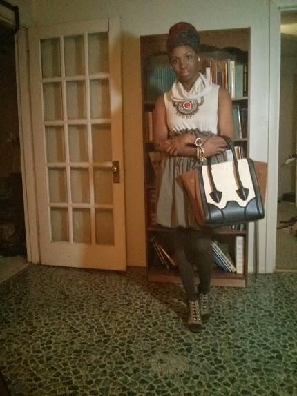 dress: Forever 21; shoes: Jessica Simpson c/    o Dillards; handbag: Pour La Victorie c/o Saks Off 5th; headscarf: borrowed