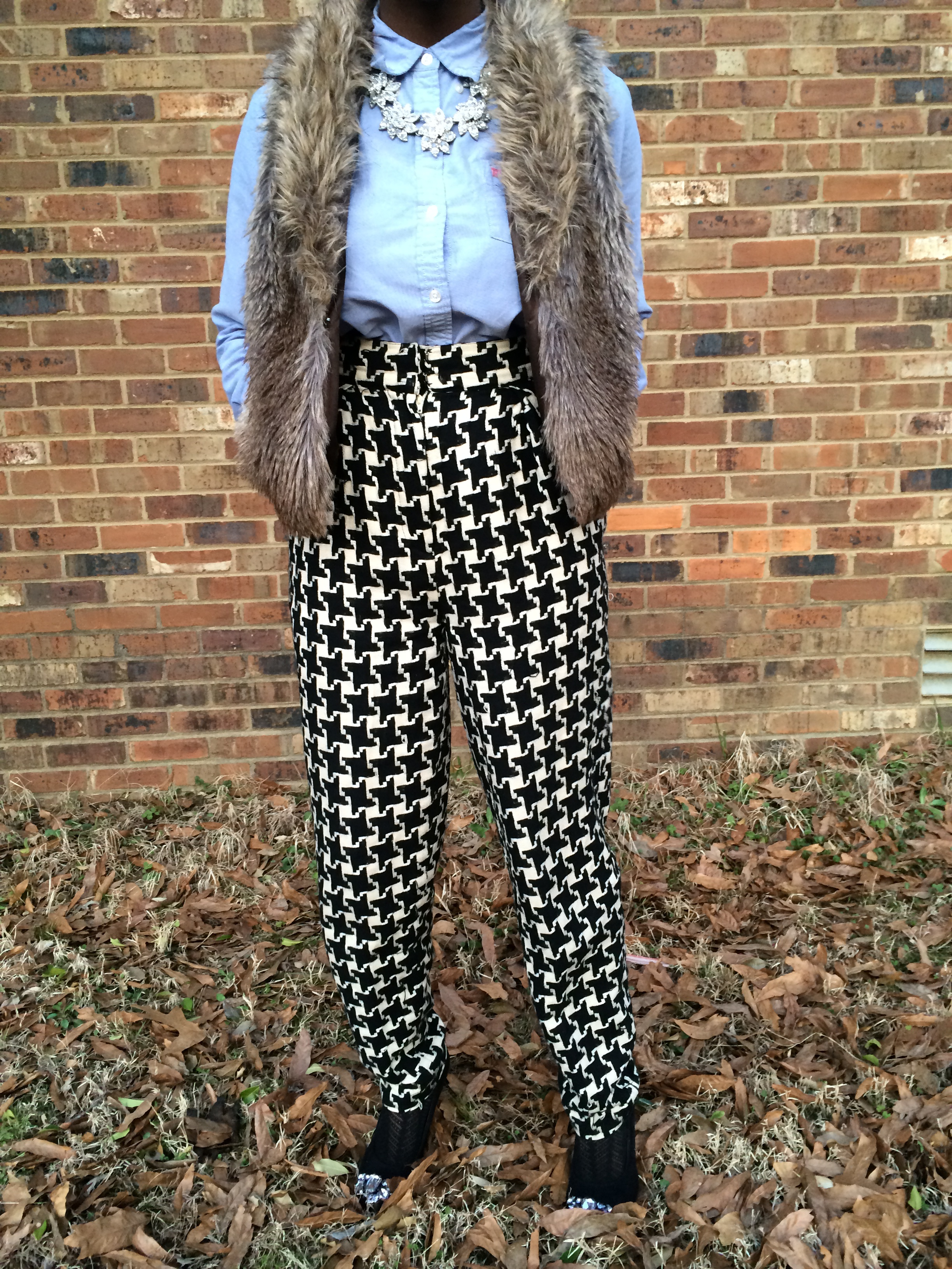 outfit details- fur vest: Express; shirt: Ralph Lauren; pants: vintage; shoes: ASOS