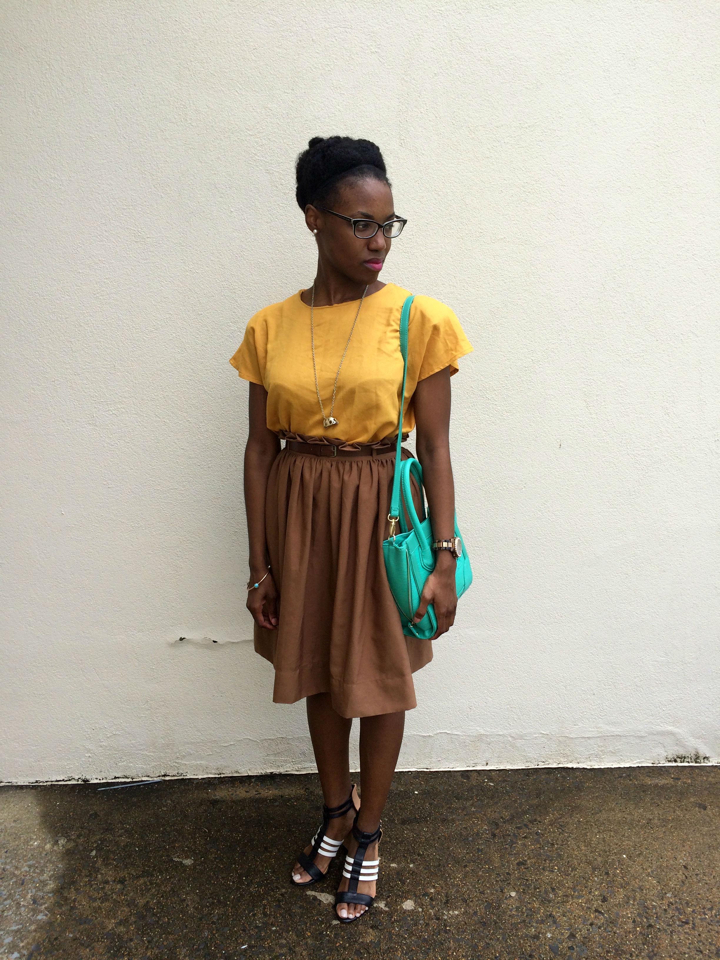 outfit details- shirt, bracelet and necklace: vintage; skirt: Forever 21; shoes: Jessica Simpson c/o Dillards; purse: Aldo; watch: Michael Kors