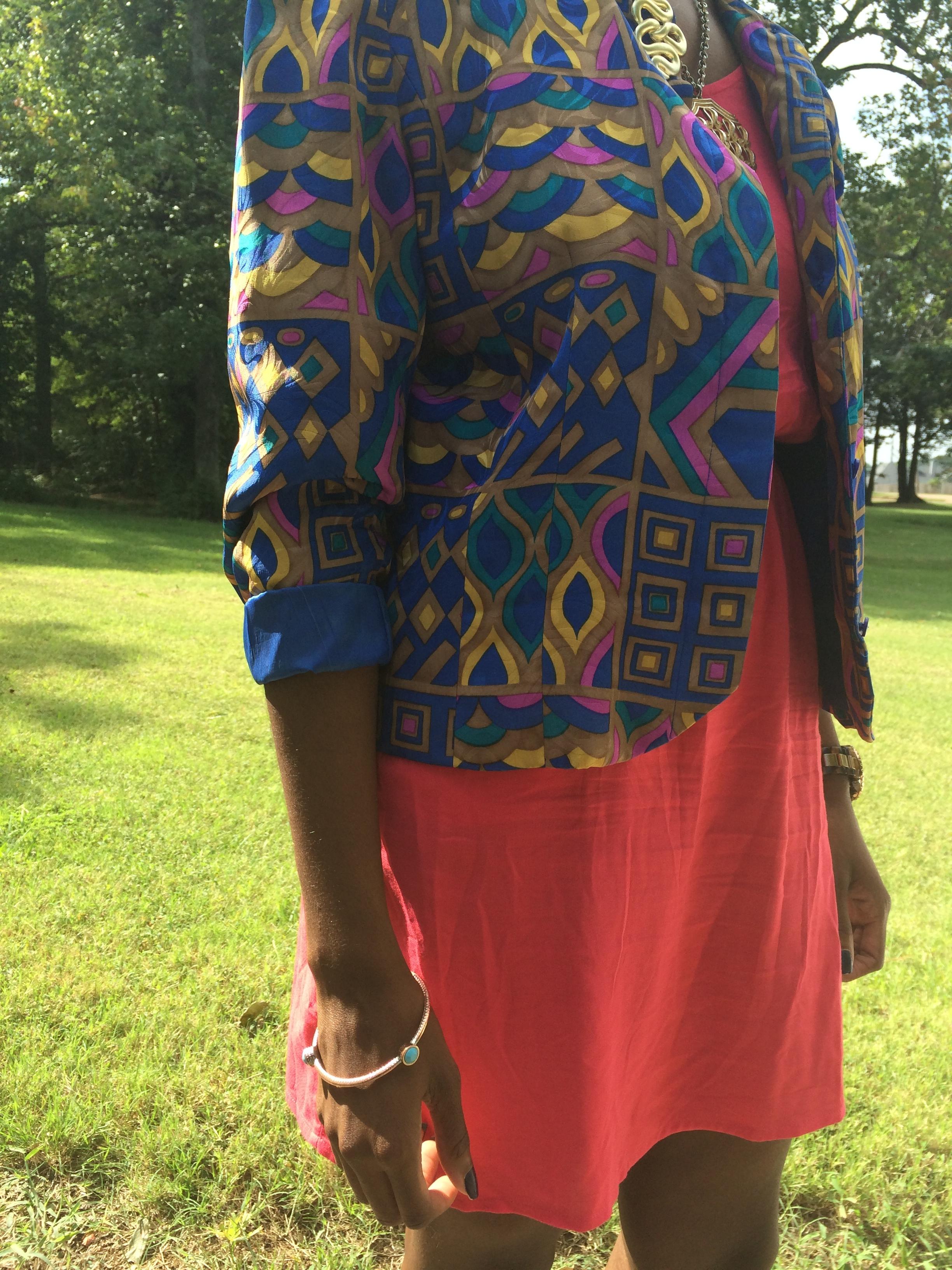outfit deets: dress - Target; blazer - thrifted vintage; shoes & watch - Michael Kors; necklace, earrings & bracelet - vintage