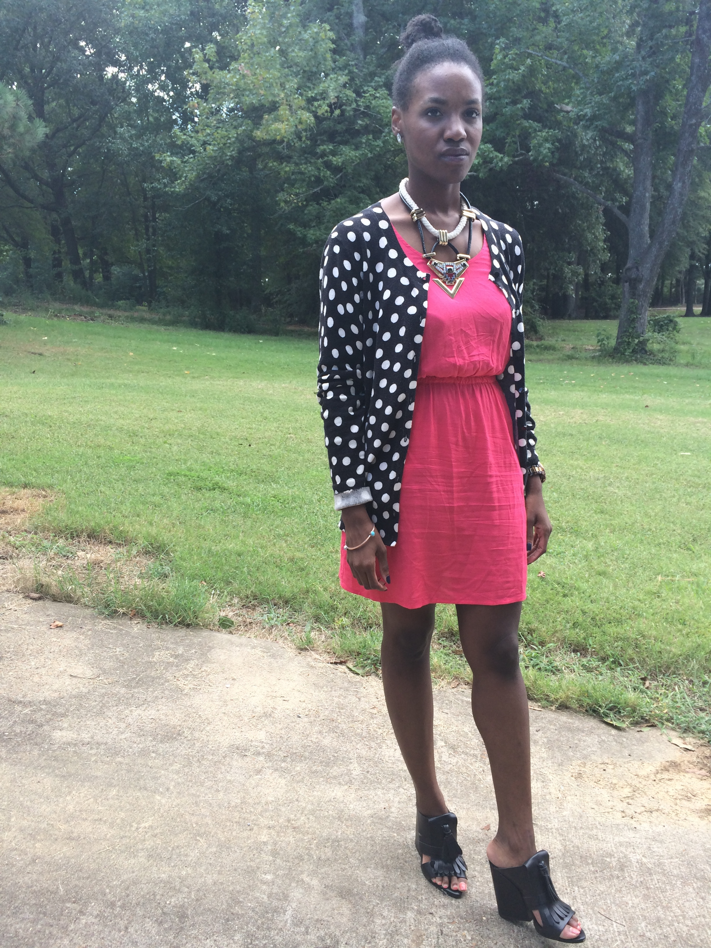 outfit details- cardigan: thrifted; dress: Target; shoes: Zara; necklace: Topshop