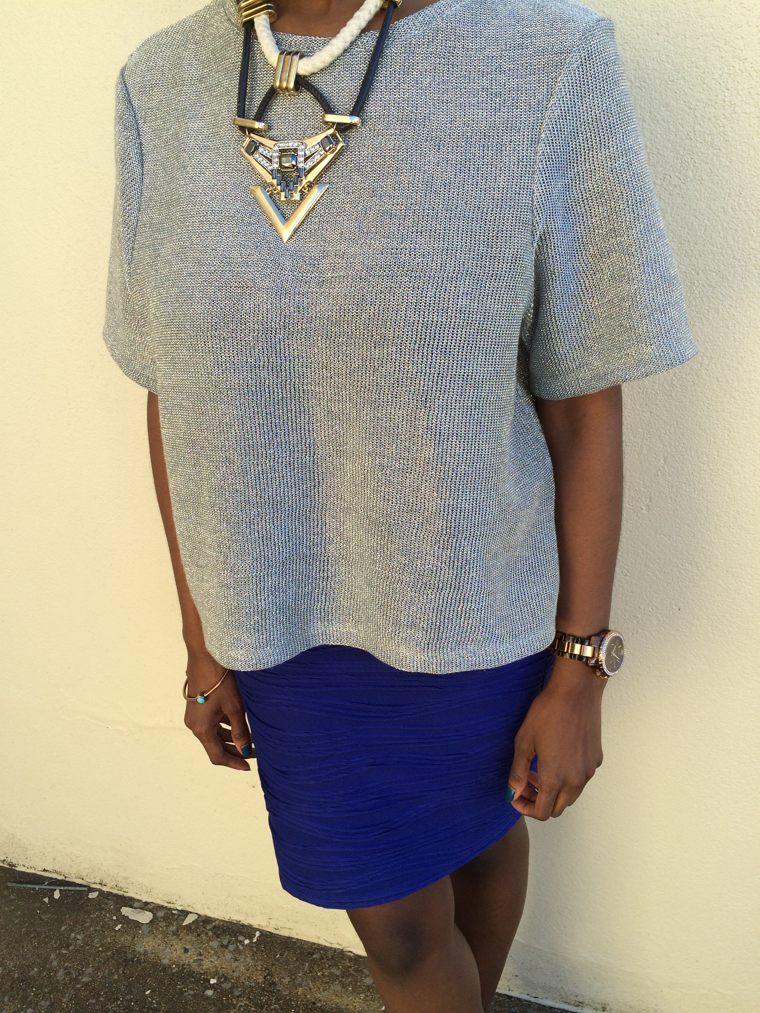 outfit details - shirt: H&M; skirt: Forever 21; necklace: Topshop; shoes: Bakers