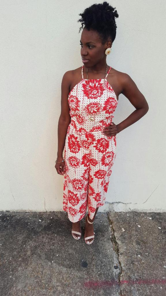o utfit details - jumpsuit: Topshop; earrings and necklace: thrifted vintage; shoes: Madden Girl by Steve Madden