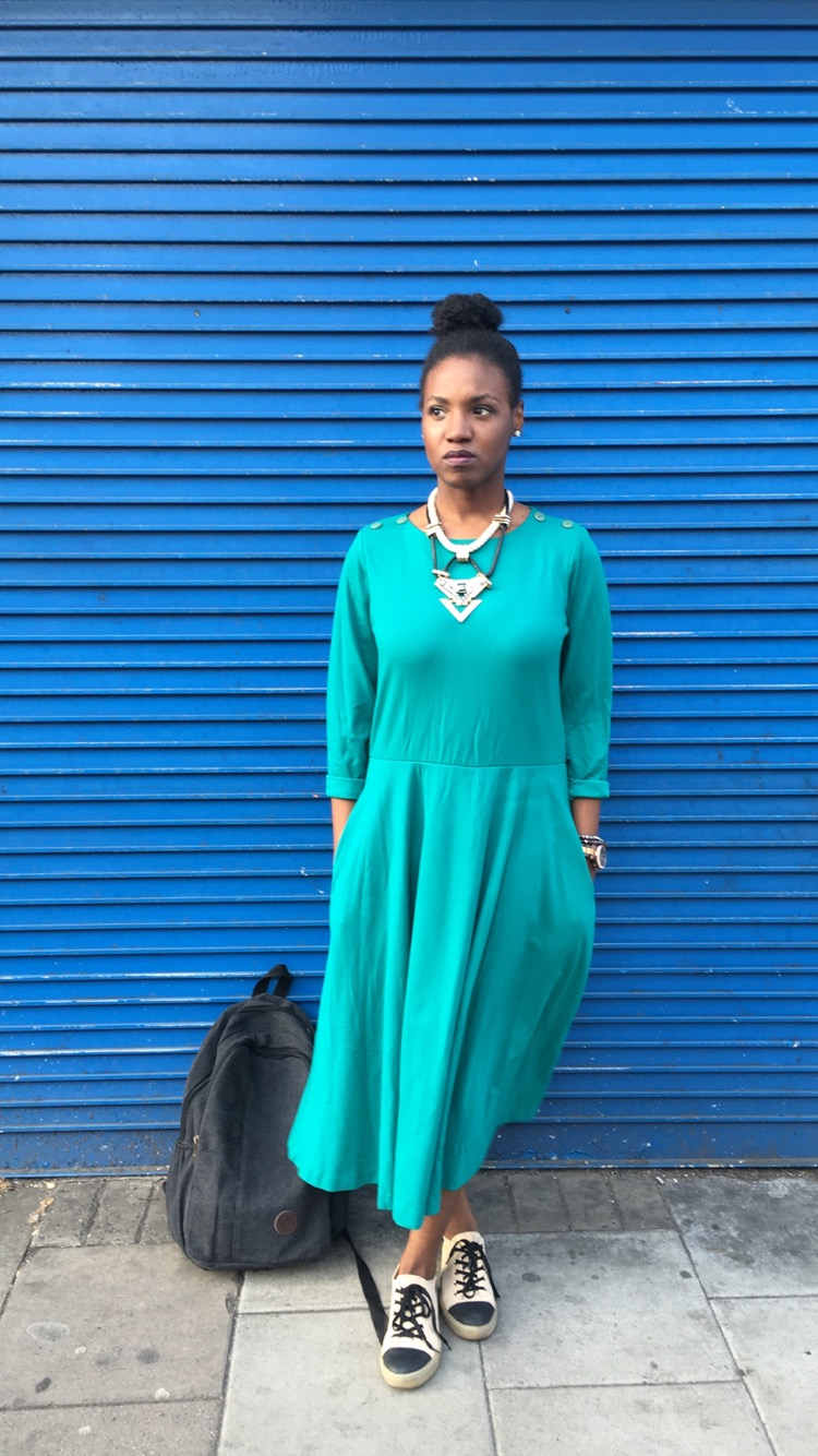 outfit deets - dress: thrifted c/o Goodwill ( here ,  here ); shoes: Aldo ( here ,  here ); backpack: ( here ,  here ); necklace: ( here ,  here )