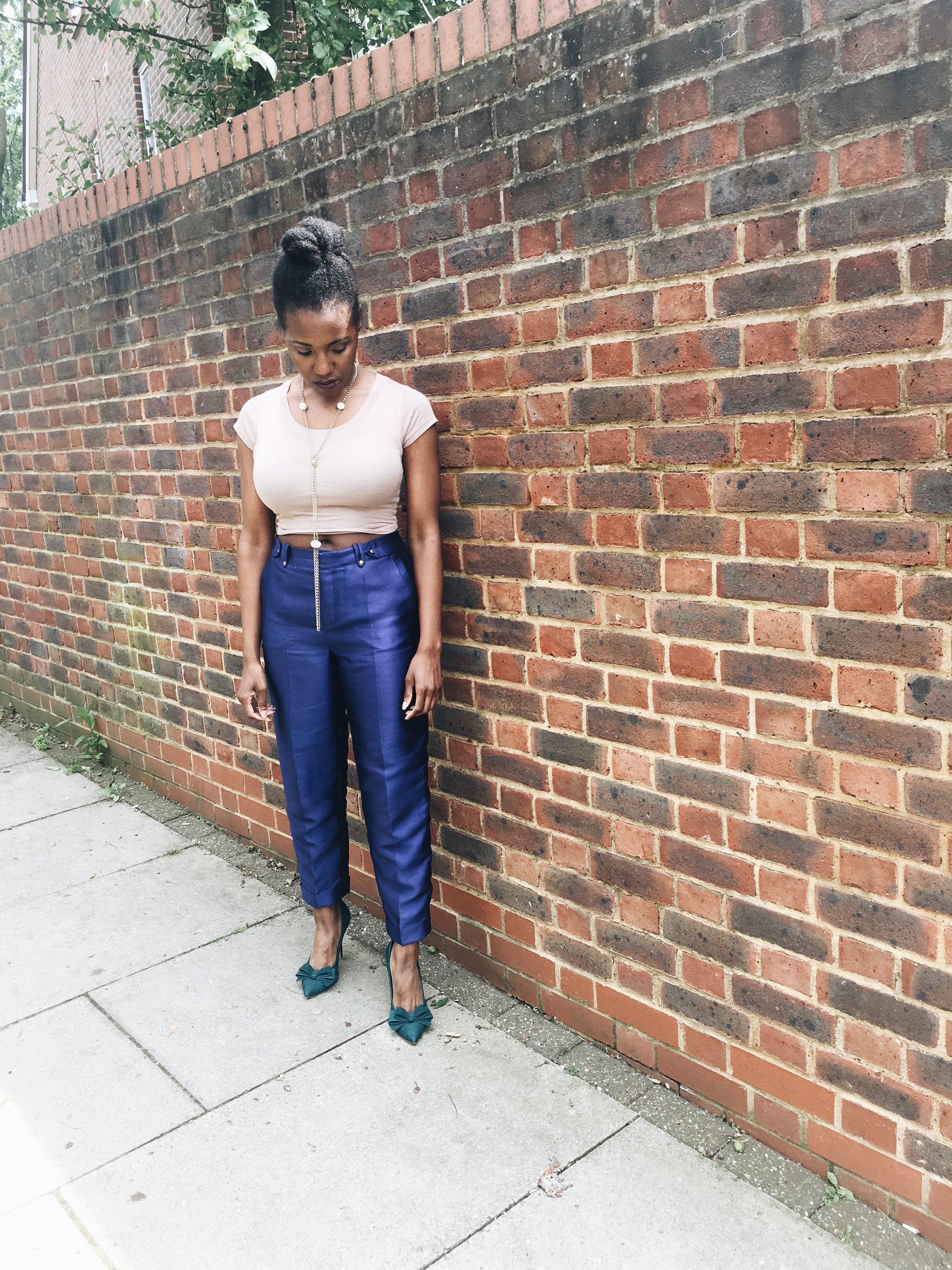 outfit details - crop top: Arden B ( here ); trousers: three floor ( here ,  here ) ; shoes: Steve Madden ( here ); necklace: vintage ( here )