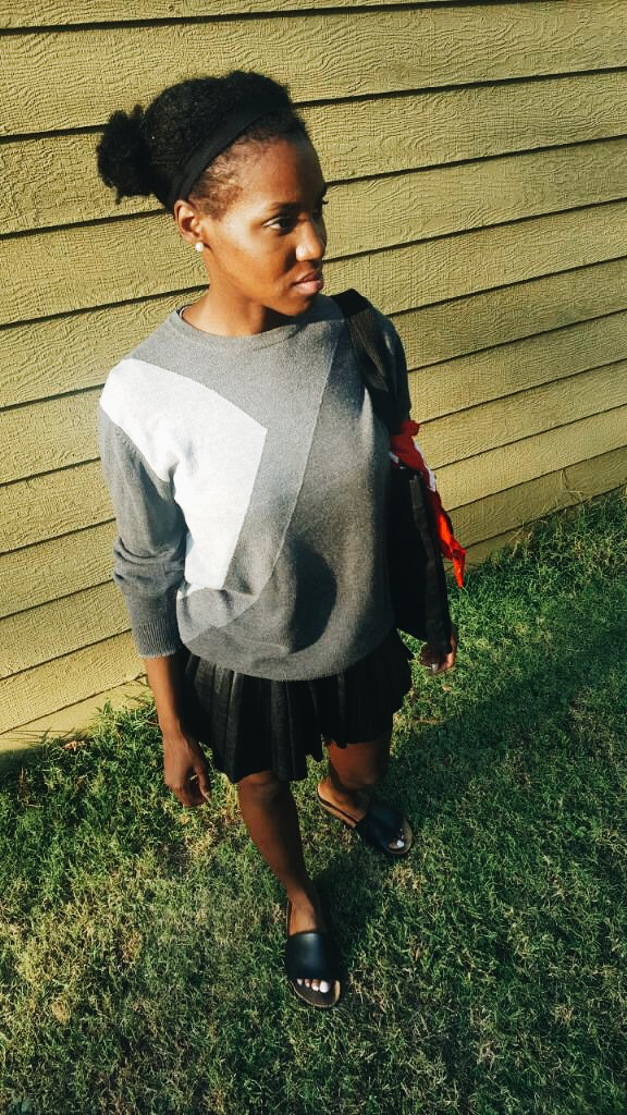 outfit details - sweater: thrifted ( here ); skirt: H&M ( here ); shoes: gifted ( here )