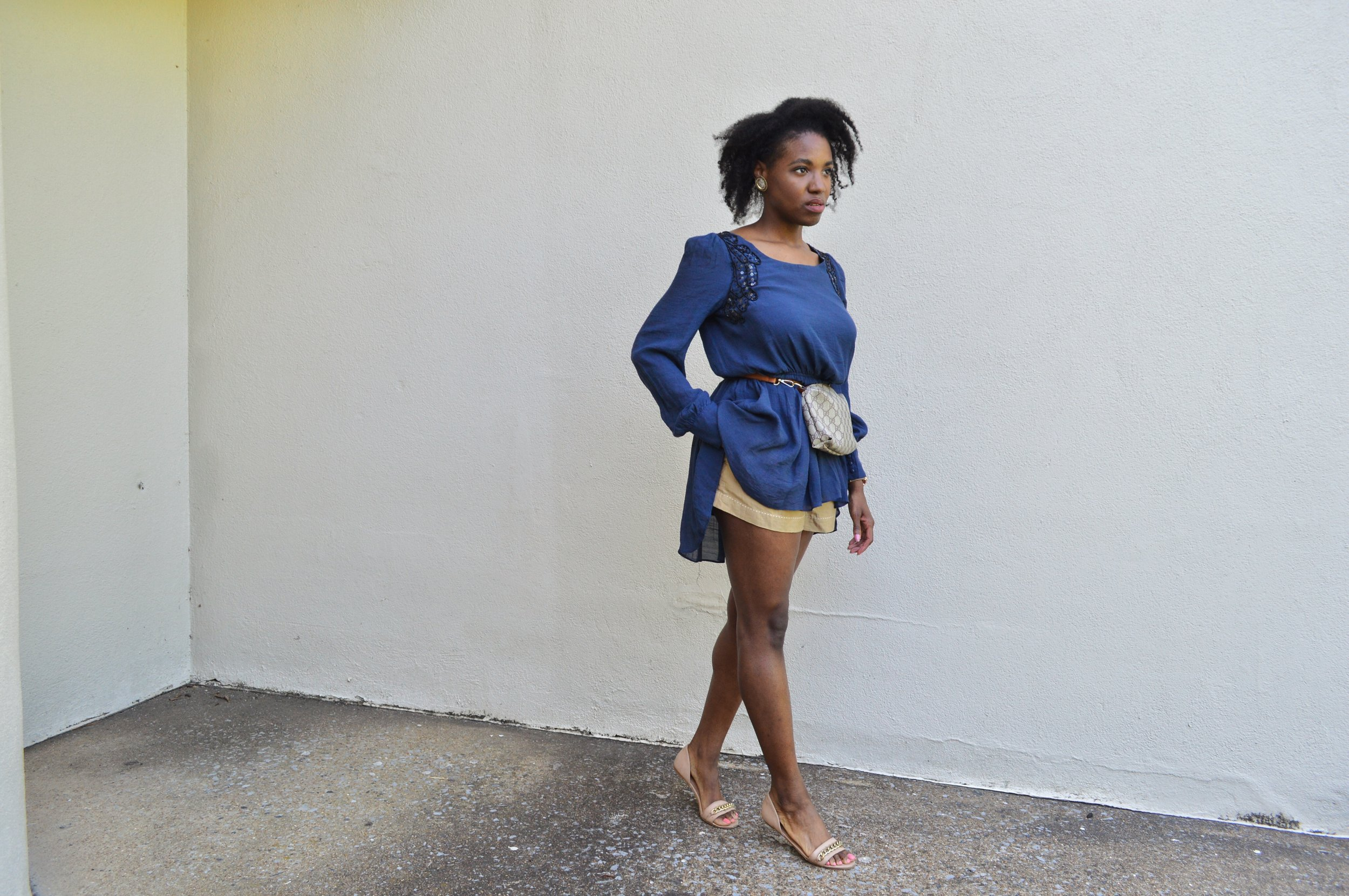 outfit details - shirt: thrifted ( here ); shorts: Anthropologie ( here ); shoes: H&M ( here ); purse: Gucci ( here )