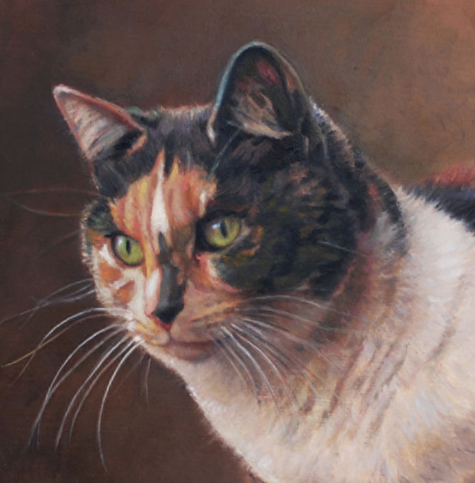 "This painting of ""Ira's Kitty"" was painted as a full body portrait. I have cropped it to give you an idea of a cat mini portrait."