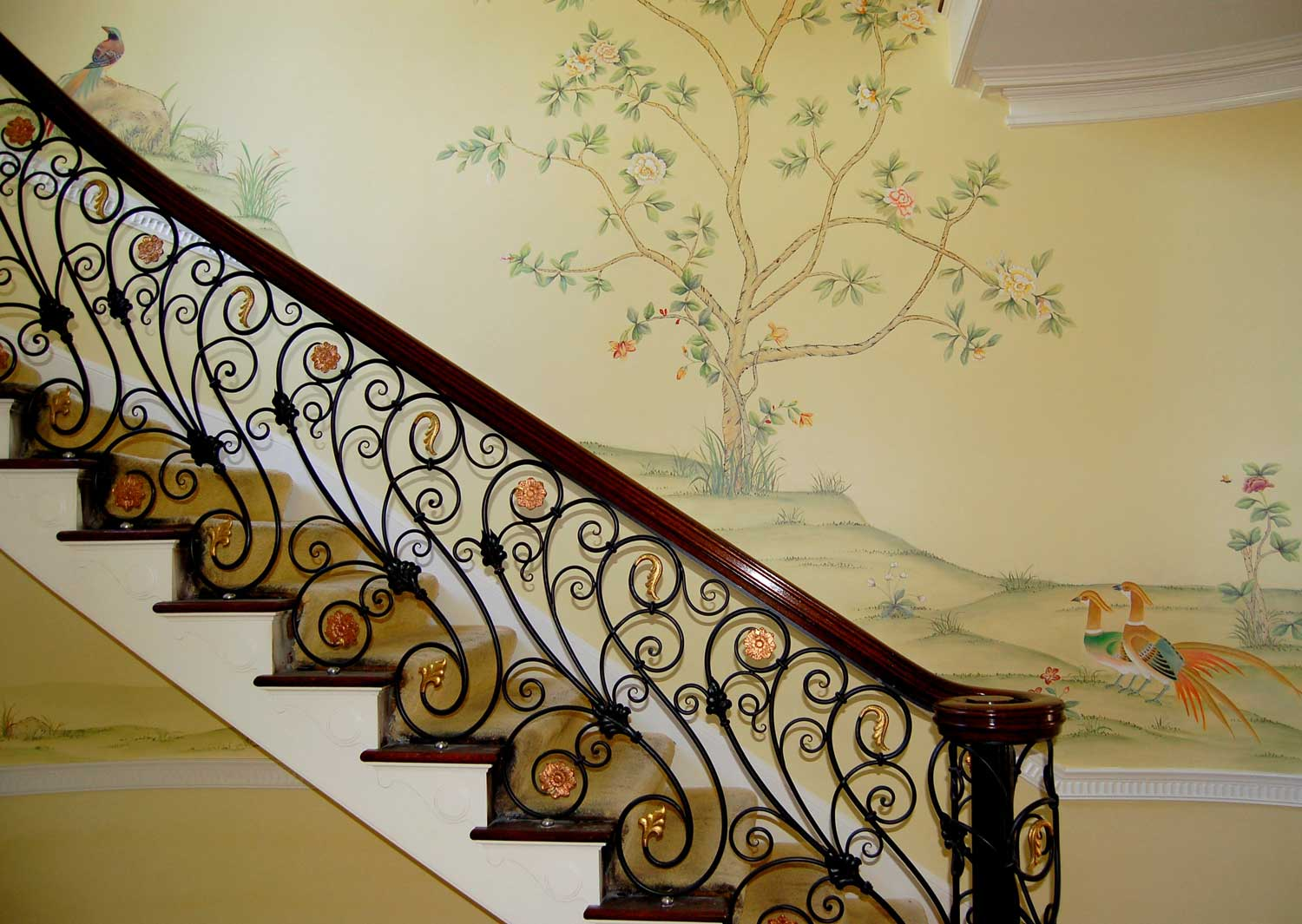 Stairway Area - Chinoiserie style mural