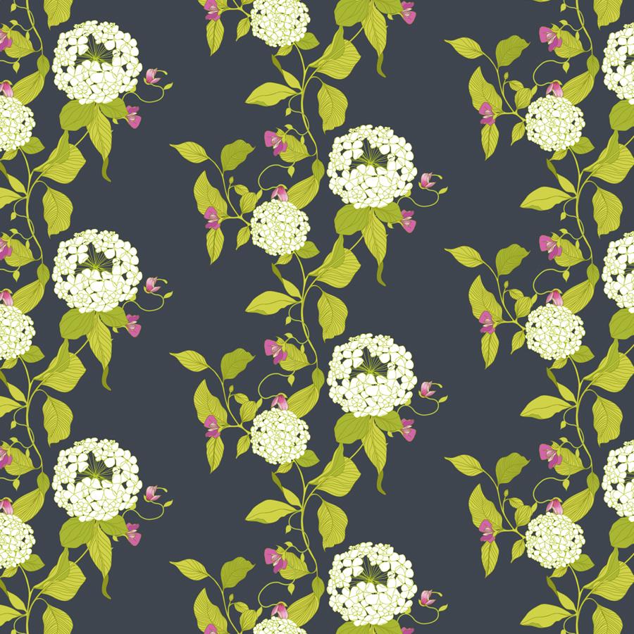 hydrangea pattern, hydrangea illustration, hydrangea, surface pattern design, botanical, wallpaper, fabric, floral, floral pattern, melissa crowley,