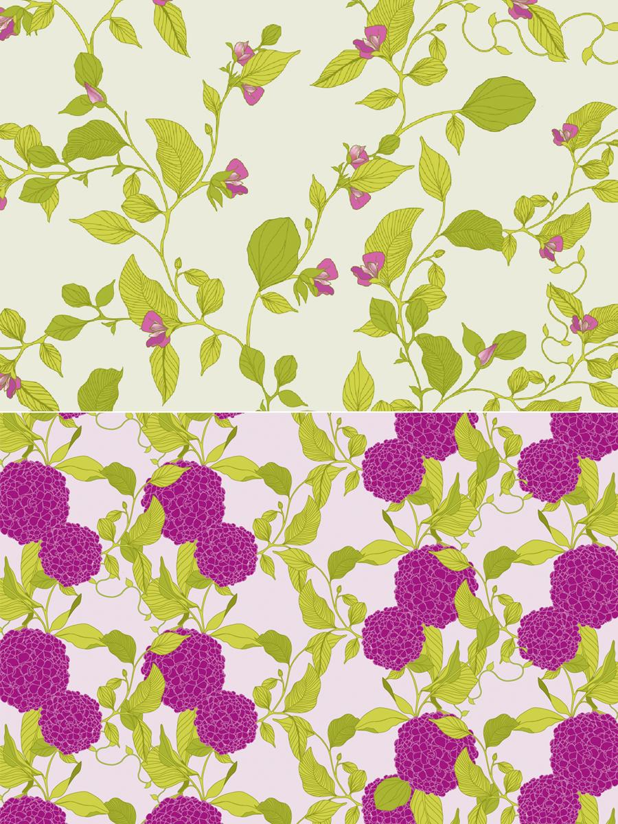 hydrangea pattern, hydrangea illustration, hydrangea, surface pattern design, botanical, wallpaper, fabric, floral, floral pattern, melissa crowley