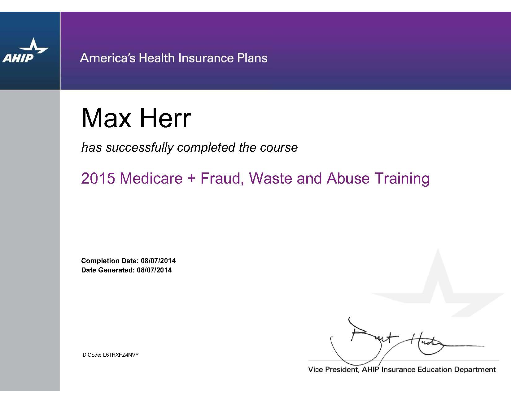 Required certification for 2015 Medicare Advantage