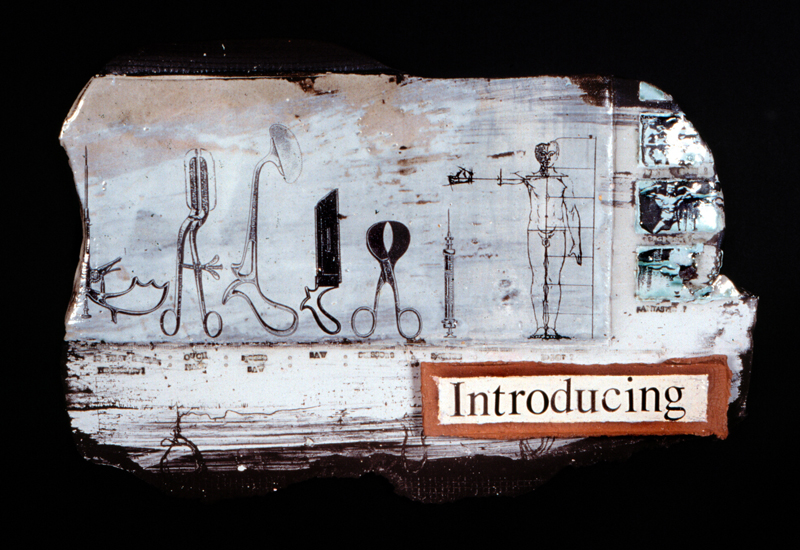 'Introducing...'. Black Earthenware, coloured slips, screen printed enamels. 1995