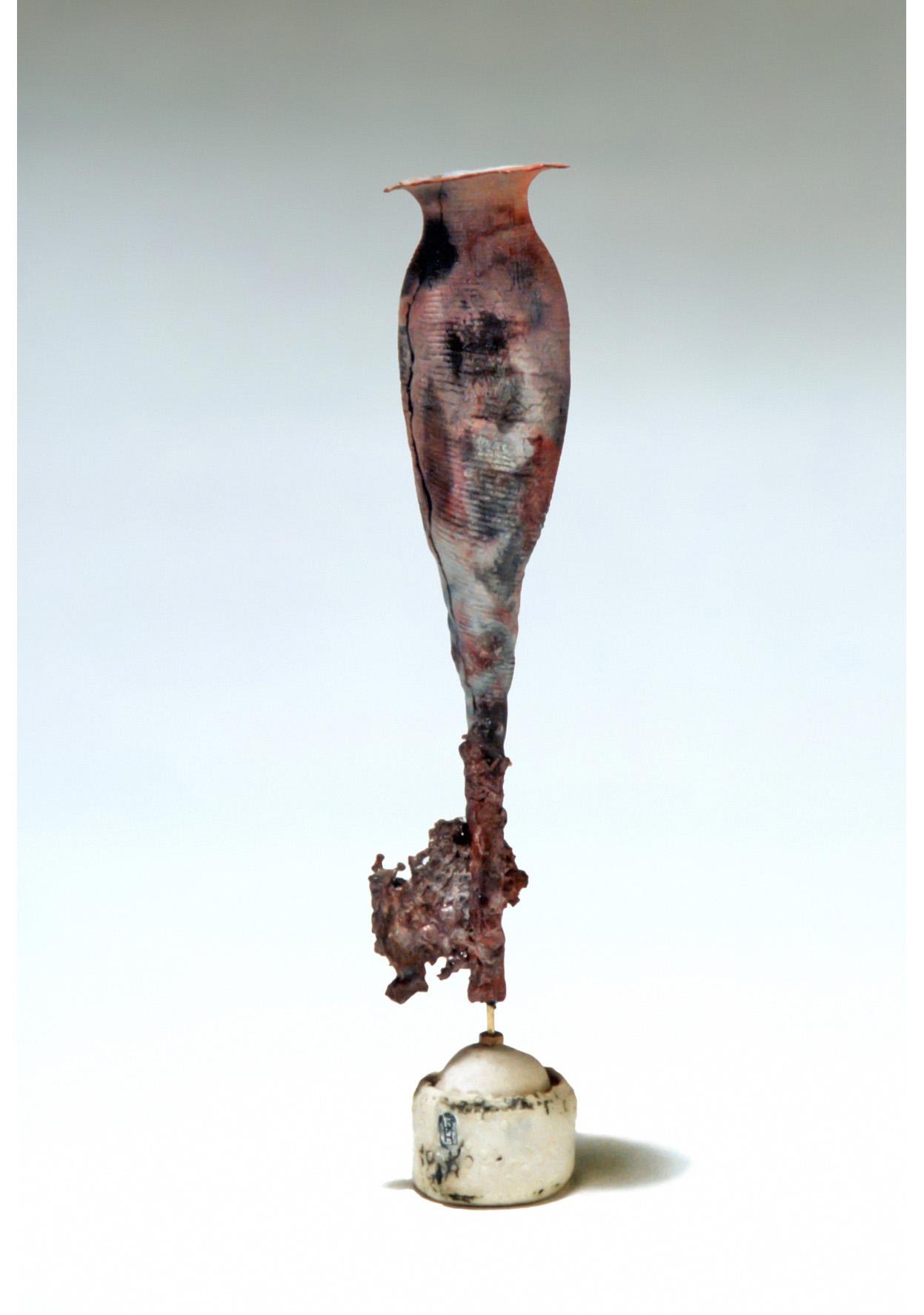 Muscle Study Vessel. Earthenware Terra Sigillata, wire, porcelain. 1993