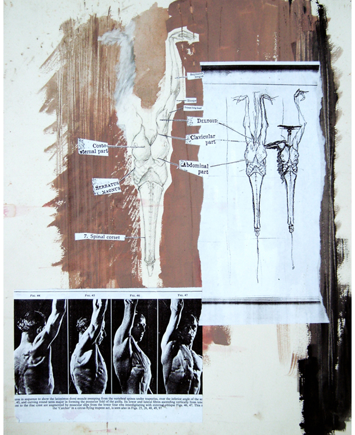 'Syringe Study'. Photocopy collage, gouache. 1994
