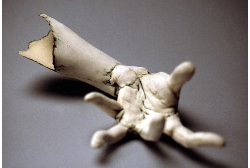 'Grasp' White Stoneware, copper carbonate. 1997