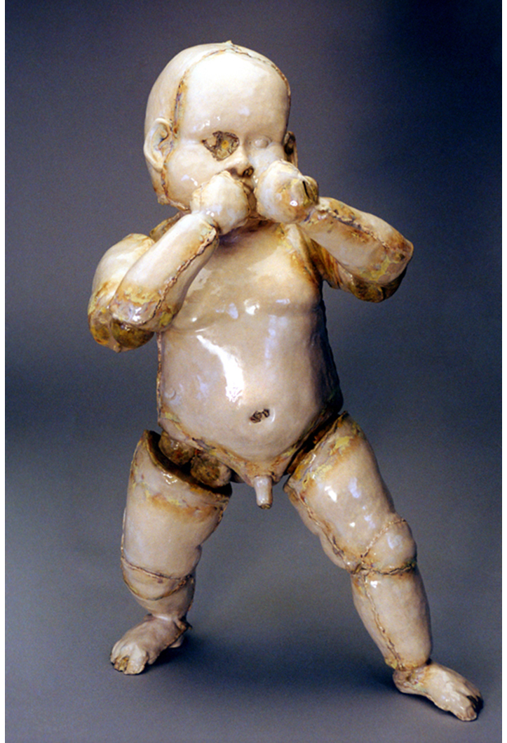 'Mother's Pride' White Stoneware, satin glaze with Vanadium pentoxide. 1997