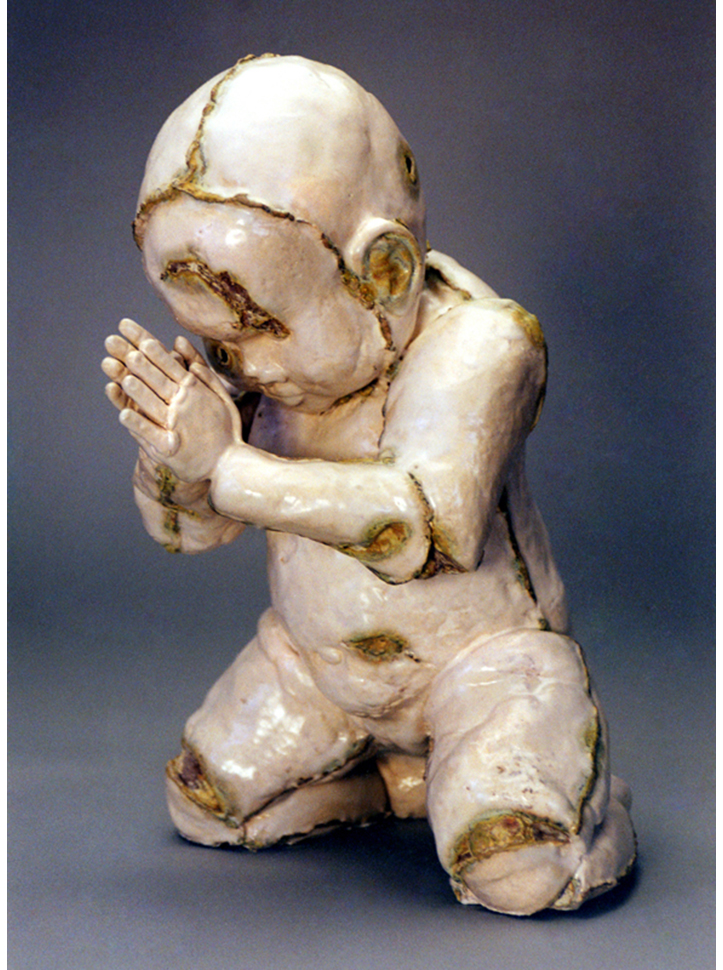 'Pray' White Stoneware, satin glaze with Vanadium pentoxide. 1997
