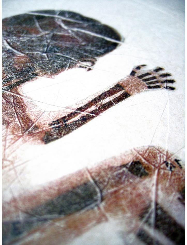 'Study for JesusFoetus'. Acetone print on tissue paper. 1997