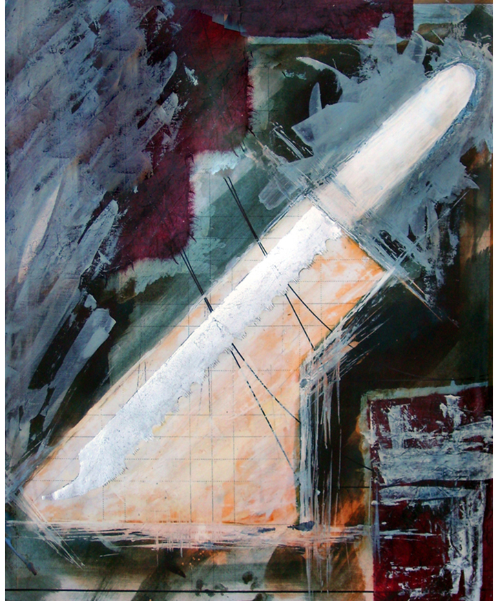 'Study for Infidelity Knife'. Ink, silver leaf, gouache. 2000