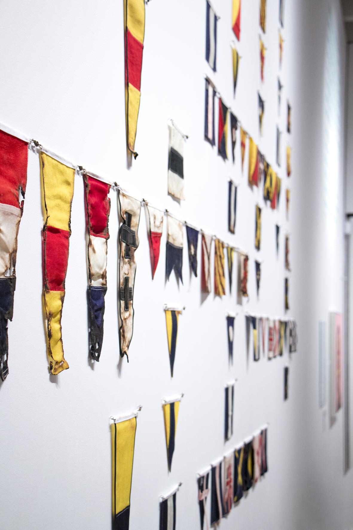 Yeo Crossword. Vintage signalling flag fabric.Royal Albert Memorial Museum Exeter.2015