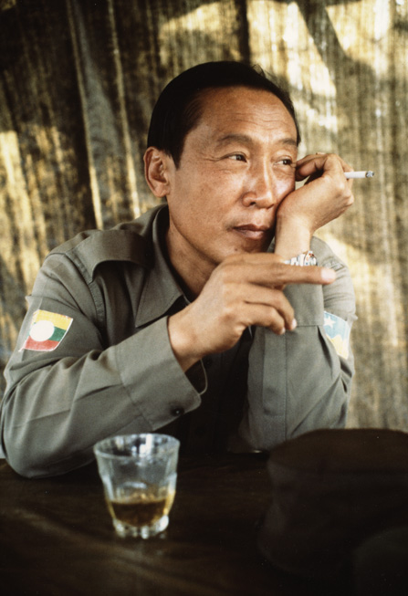General Khun Sa, the most notorious opium warlord of the Golden Triangle, at his jungle redoubt.