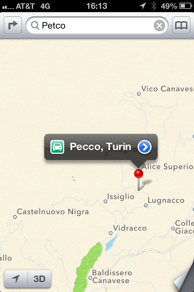 Petco by way of Italy, courtesy Apple Maps.