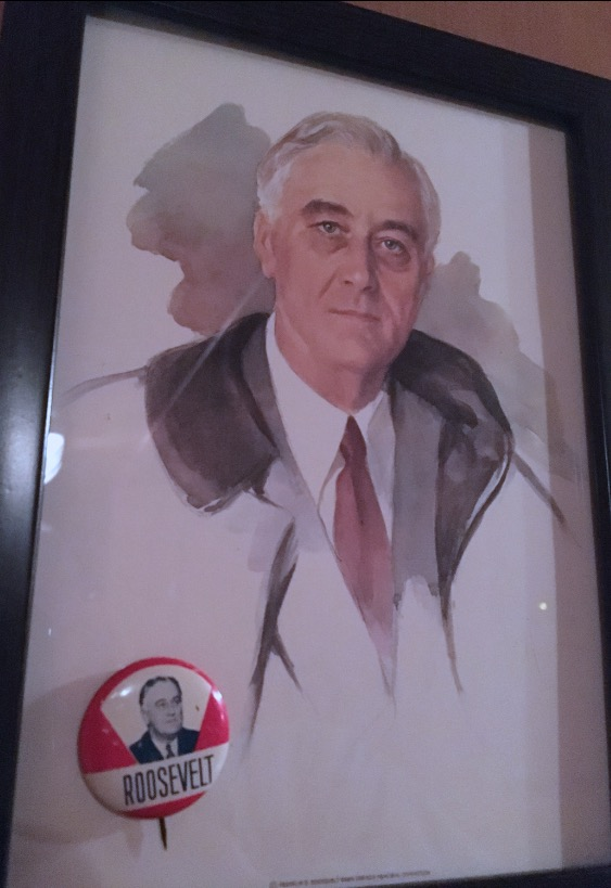 A great man, Franklin Delano Roosevelt, in the portrait he was sitting for when he died in Warm Springs, Georgia. This postcard, and the button, both come from there and hang in our camper.