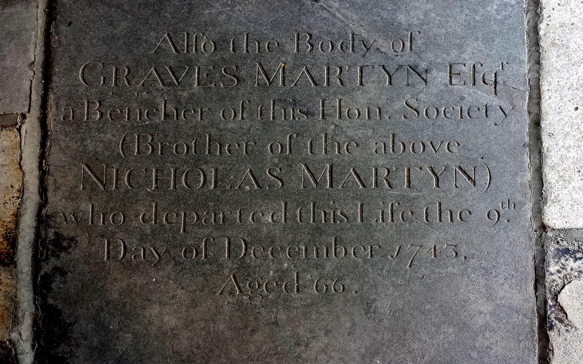 Interred in 1743