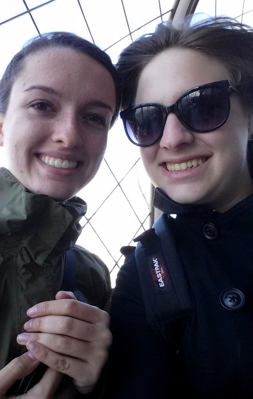 Obligatory top of the world selfie. Windblown hair, too.
