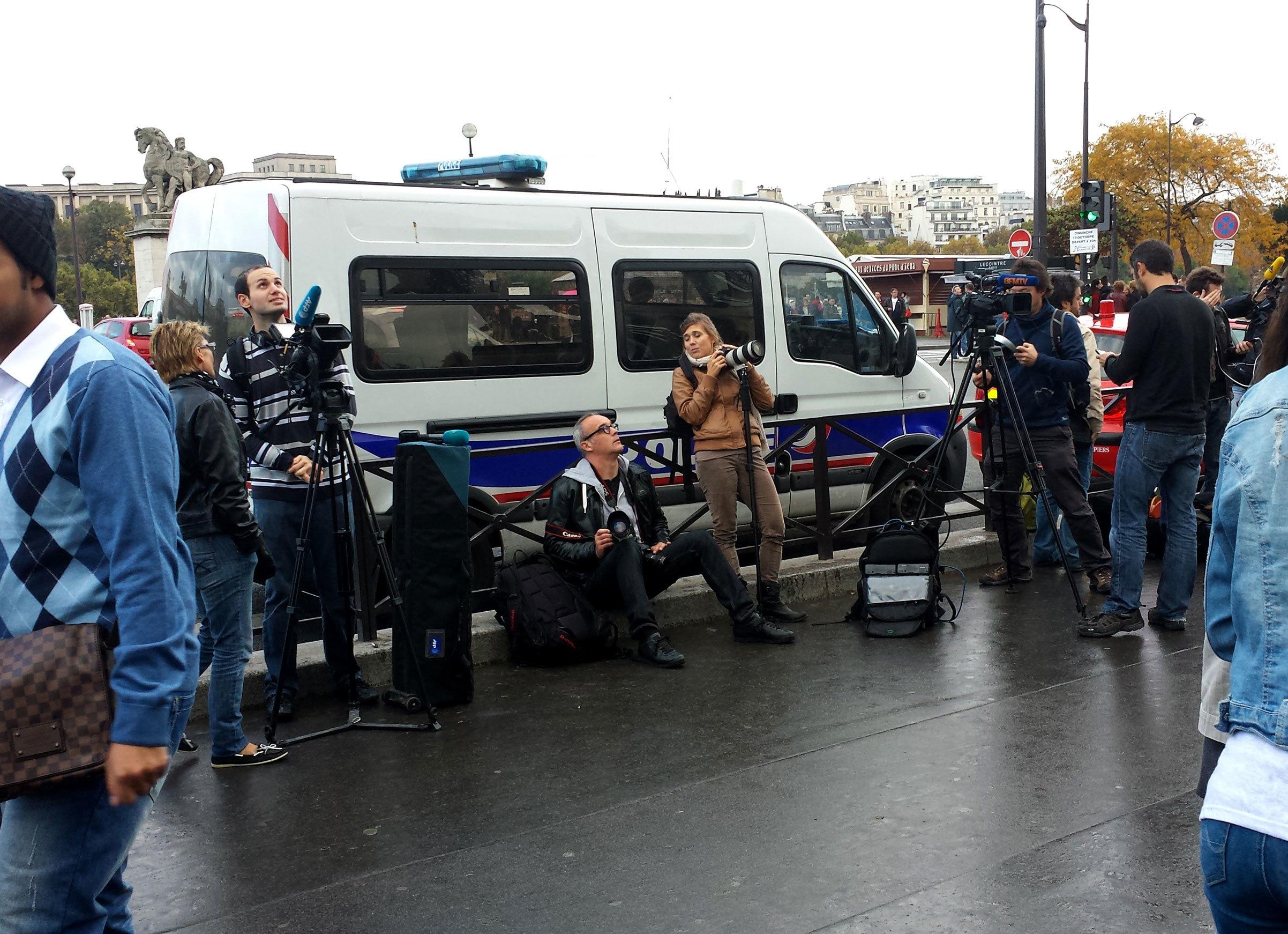 Protest film crew.