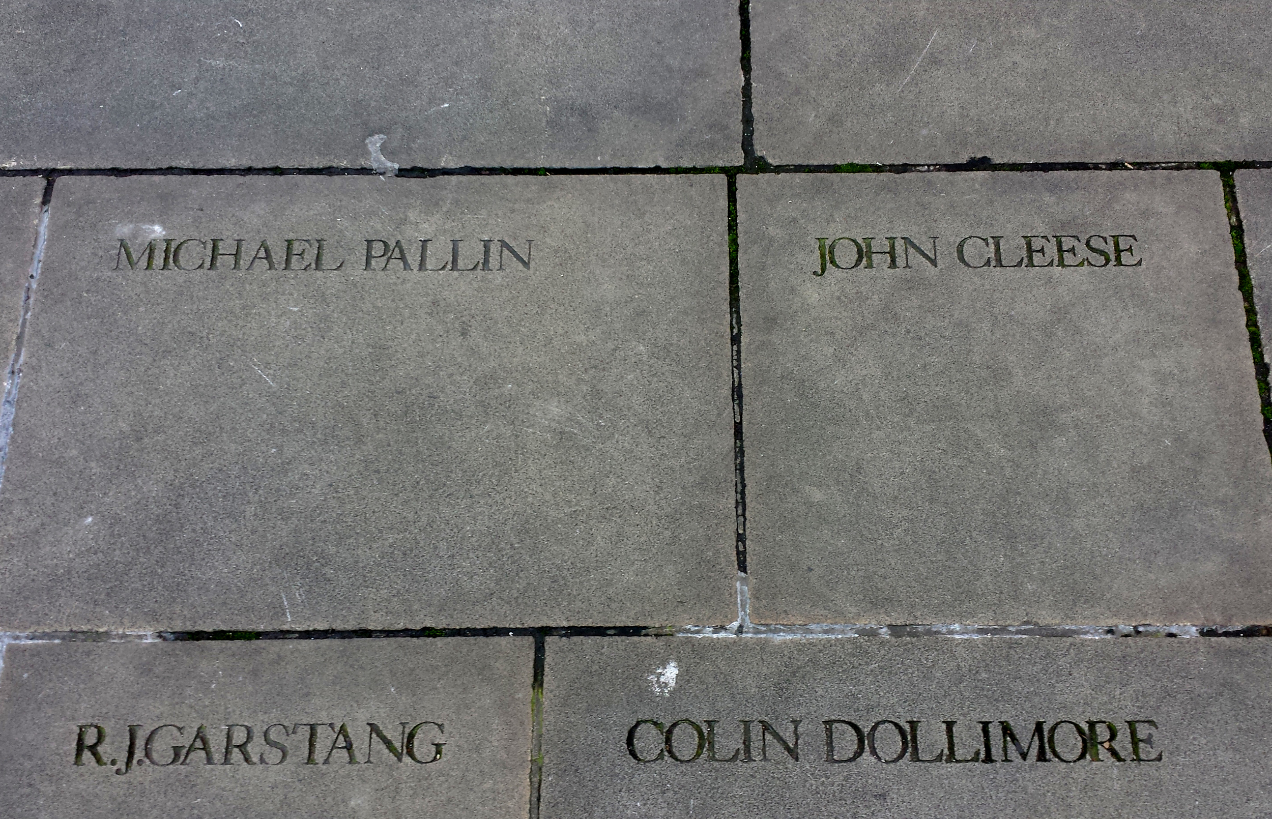 So, John Cleese paid for both of these stones at The Globe, on the condition that they spell Michael Palin's name incorrectly.