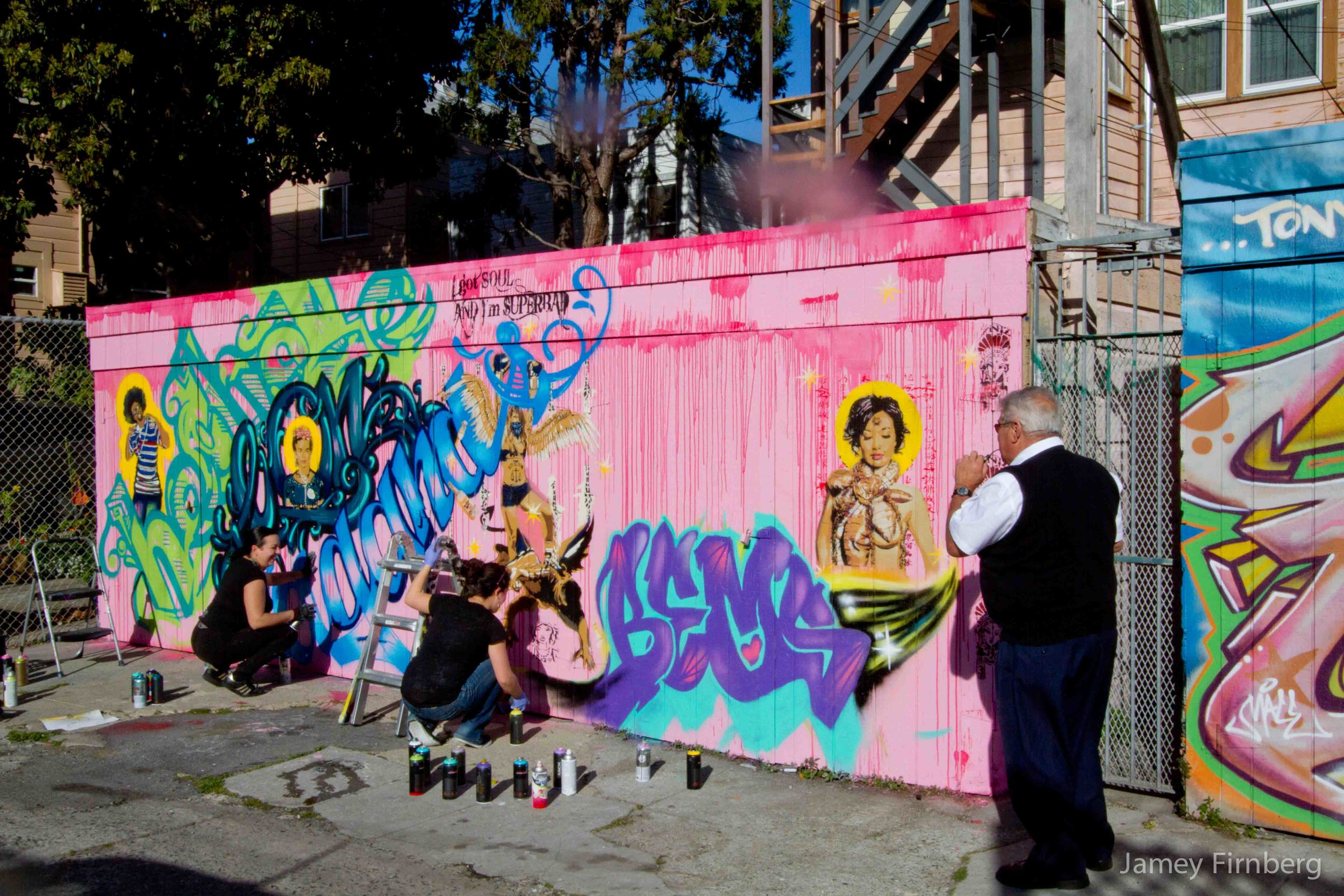 Street artists at work in San Francisco.