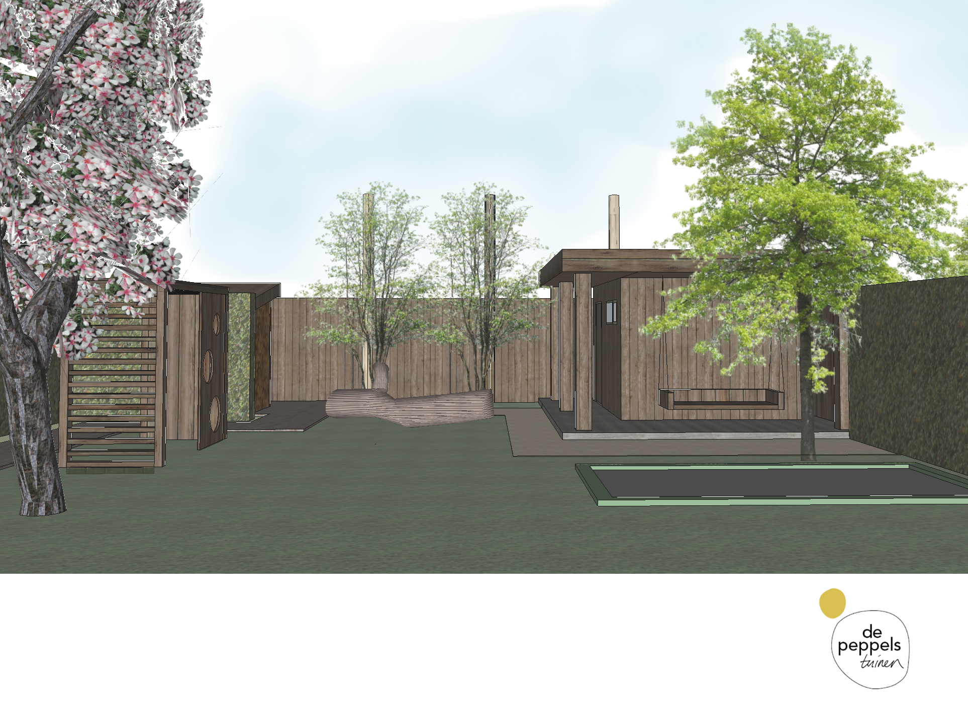 stoer houten tuinhuis