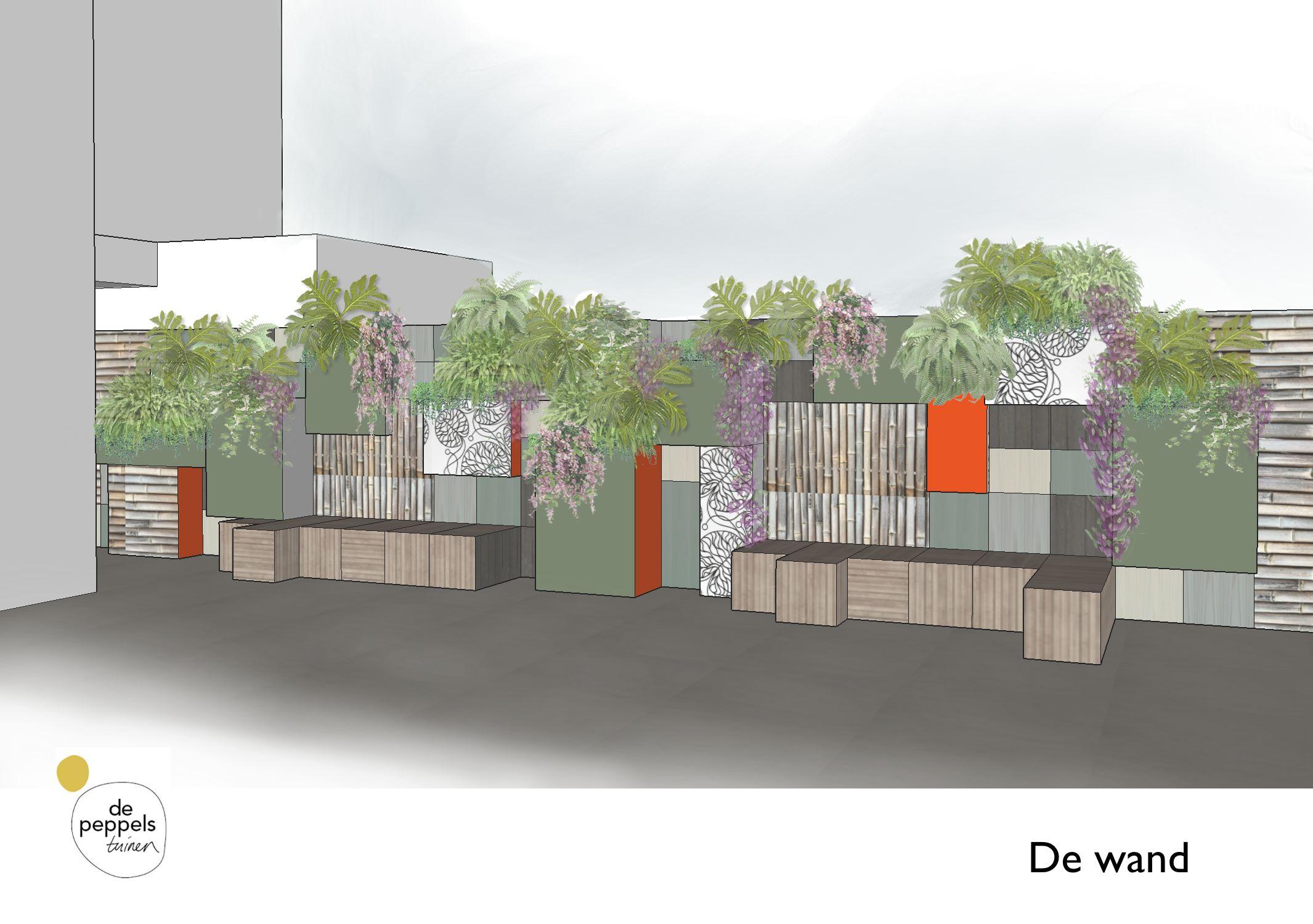 'green wall' tuinontwerp stadstuin Amsterdam