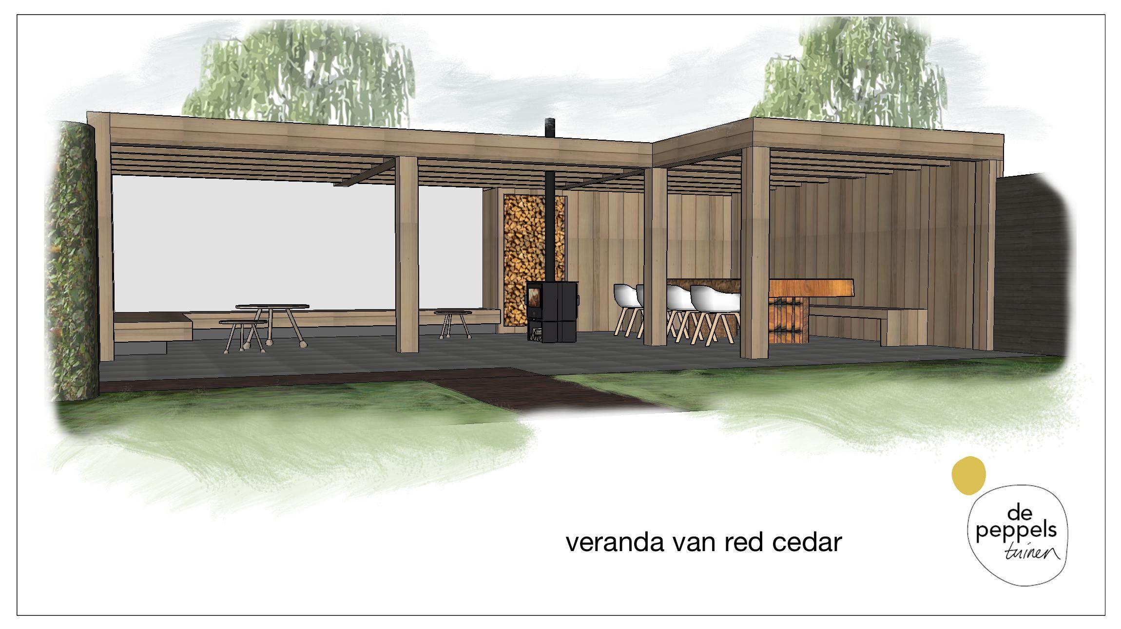 houten veranda van red cedar