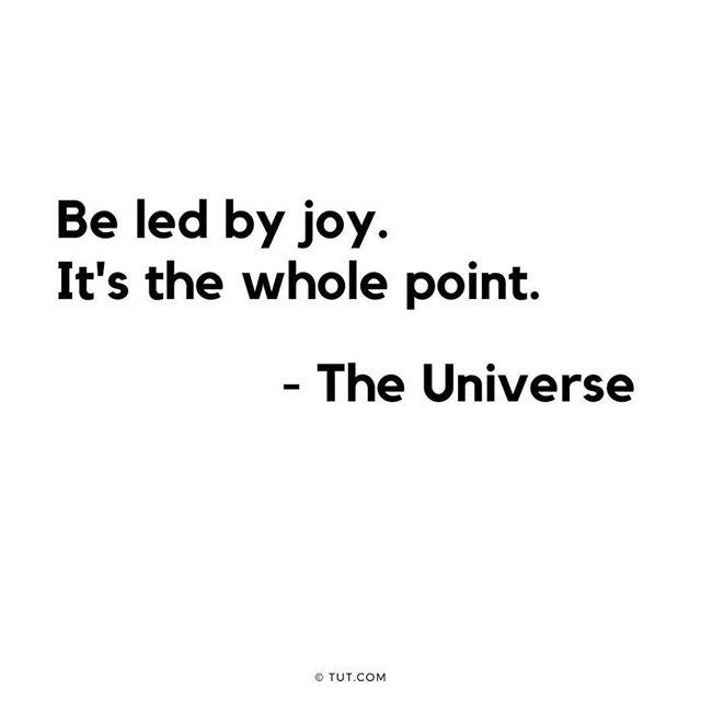 Be led by #joy.  It's the whole point #the universe @mikedooleytut #tut #notesfromtheuniverse #ineededthis #goodreminder #inspirationalquotes #inspiration