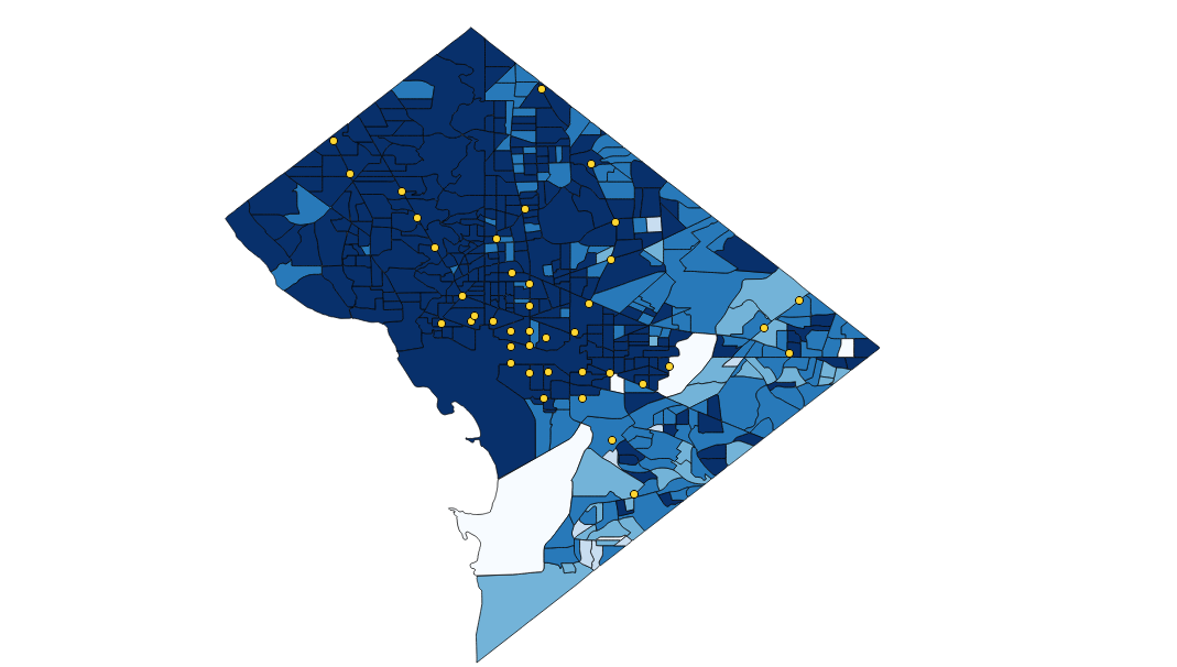 The lighter the blue, the higher the unemployment rate. Data from   https://factfinder.census.gov/ . (Note that the bottom white space is a military base, which is classified as a separate type of employment.)