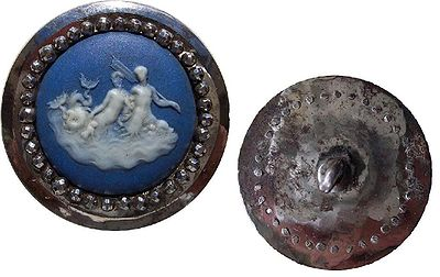 Wedgwood  button with  Boulton  cut steels, depicting a  mermaid  & family, England, circa 1760. Actual diameter