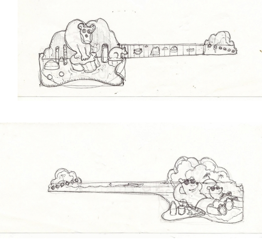 Sketch for an as yet unrealised project……..The Global Warming guitar