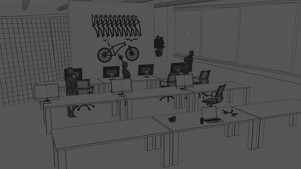 My CG Build out using the cafeteria photos as reference.