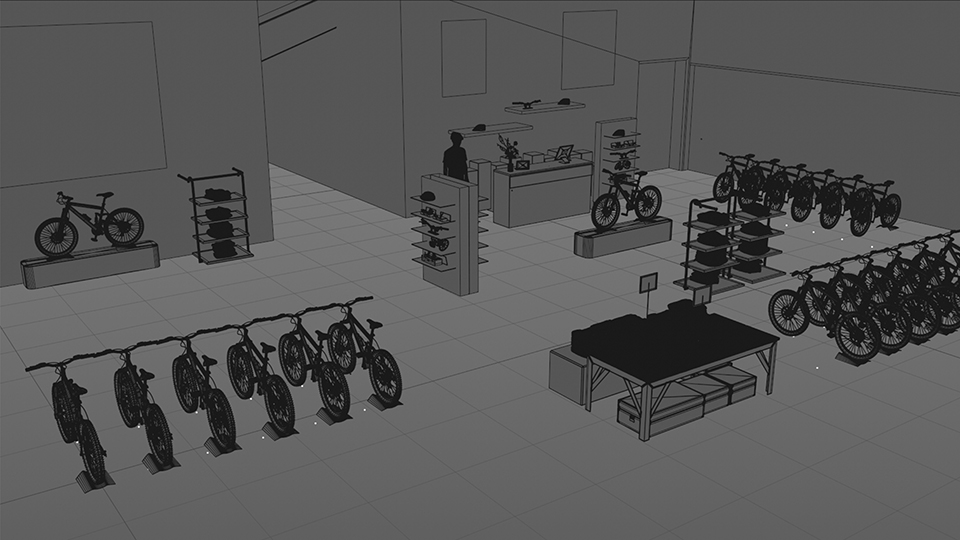 CG Bike shop Build using photos of the true space merged with inspiration ideas from photos