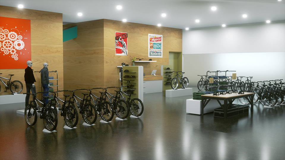 CG Rendered stills of created new bike shop of how we planned to build the space